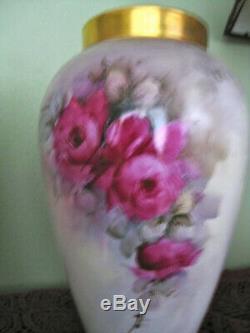 Roses Limoges Vases Paire Peint À La Main