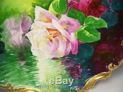 Roses Peintes À La Main De Limoges Reflétant Au-dessus De L'eau, Signé A. Chargeur Broussillon