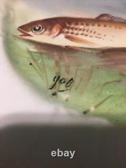 Selon 7 Antique Ldbc Limoges France Paintes 8.75 Plates De Poisson Signés Vtg