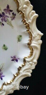 Set 4 Limoges Plates Tv Limoges China Dinner Plates Painted Violets 1800's