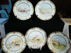 Set 5 Antique Haviland Limoges Illustrateurs Aux Oiseaux Peints À La Main Plaques