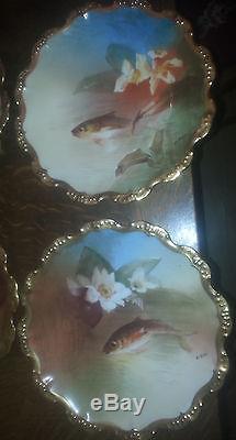 Set De 11 Poissons Porcelaine De Limoges Peint À La Main Signé Du Nerval Pièce De Livre
