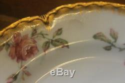 Set De 6 Assiettes À Salade En Émail Doré À L'or Rose Haviland Limoges Naudin Sch 257