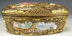 Sevres France Porcelaine Peinte À La Main Artiste En Boîte Ovale Dorée Signé