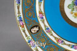Sevres Style Peint À La Main Floral Bleu Raised Or Et Chiffres Néoclassiques Plaque B