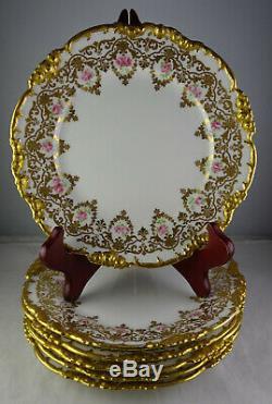 Six Or Incrustées Antique Limoges Dessert Plaques Peint À La Main Roses Magnifique