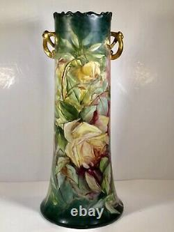 Superbe 15 Tall Limoges Painted Roses Vase