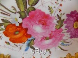 Superbe Antique 19ème C Paris Porcelaine Peinte À La Main Rose Roses Plateau Gaufrée