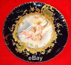 Superbe Assiette En Porcelaine Antique De Limoges Peinte À La Main, Bleu Cobalt, Sevres, Bébé
