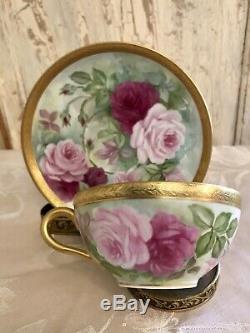 Superbe Ensemble De Tasse Et Soucoupe De Roses Peintes À La Main De Limoges France