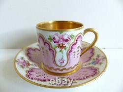 Superbe Français Limoges Handpainted Gilded Porcelain Cup & Soucoupe Artiste Signé #1
