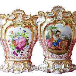 Superbe Grand Français V. 1850 Vase En Porcelaine De Paris, Style Rococo, Peint À La Main