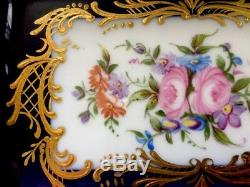 Superbe Limoges Français Porcelaine Peinte À La Main Plateau Cobalt Florale D'or