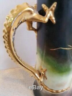 Superbe Main Vintage Peint J. P. Limoges Tankard Dragon Poignée De Cerise Décor 15