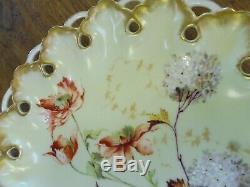Superbe Porcelaine Peinte À La Main Française Antique Limoges Cabinet Plate