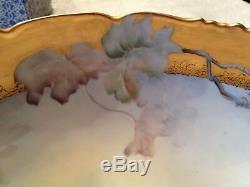 Superbe Punchbowl T & V Limoges Peint Et Peint À La Main