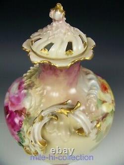Superbe Rare Limoges France Peint À La Main Roses Potpourri Jar