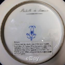 Superbe Signé Peint À La Main 19ème. C Plaque D'armoire Francaise La Bataille De Denain