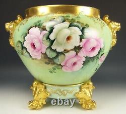 Superbes Limoges Peintes À La Main Roses Levées 14 Jardiniere Avec De L'or Plinthe Signé