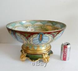 T Et V Main Limoges Peint Grand Punchbowl Avec Initiale Artiste Stand