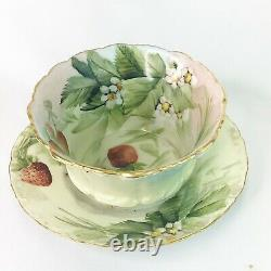T & V Limoges E. Miler Handpainted Strawberry Open Serving Bowl & Plate
