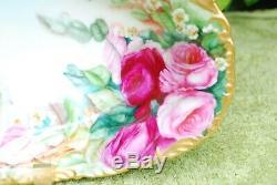 T & V Limoges France Peint À La Main Grand Plat / Bol Ovale Avec Roses