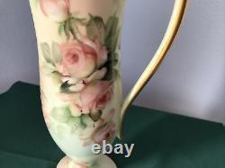 T & V Limoges Peinte À La Main Ewer / Pichet Roses Rose Signé E. Miler Exquis 12