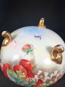 T & V Tressemanes & Vogt Hand Painted Serving Bowl & 6 Bowls HP Limoges 7j