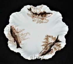 T & V Tressemanes & Vogt Limoges Peinture À La Main Poisson 14 Pièces Plaque De Porcelaine Ensemble