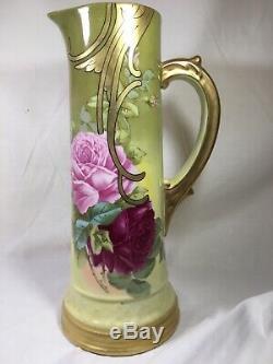 T & V (france) 14,25 Pouces Peint À La Main Yellowithgreen Ewer- Roses Roses Signés Roby