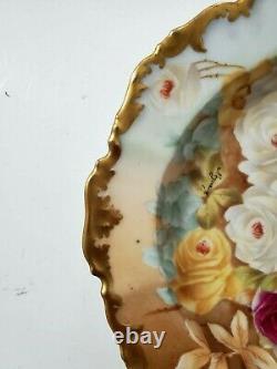 T&v Limoges Assiette/bowl Peinte À La Main, Roses, Gold Trim-signé