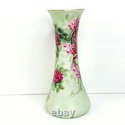 T&v Limoges France Vase Antique Peinture À La Main Fleurs Florales Artiste Signé