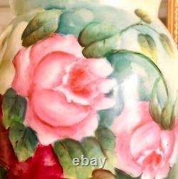 T&v Limoges Pichet Peint À La Main Roses Roses Et Jaunes 9