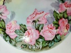 T&v Porcelaine Limoges Roses Roses Peintes À La Main Grande Boîte Àrinket À Pieds 8