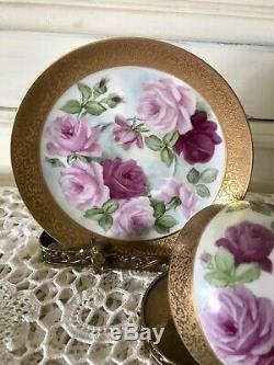 Tasse À Thé Et Soucoupe À Thé Guilde Incrustée D'or Et De Roses De Limoges