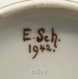 Thé En Porcelaine Dorée Parcellaire Limoges Française Série Peinte À La Main Signé E. Sch 1940-1949