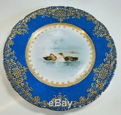 Théodore Haviland Limoges France Oiseau Peint À La Main Porcelaine 9 Plaques Ensemble De 8