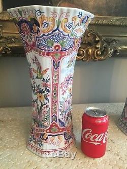 Tiffany & Co. 13 3/4 Grand Vase Hexagone Peint À La Main Fabriqué En France