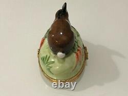 Tiffany & Co Limoges France Peint À La Main Bunny Rabbit Porcelaine Trinket Box
