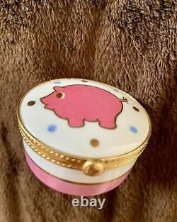Tiffany & Co Limoges France Pink Pig Gold Gilt Jewelry Box, Signé, Peint À La Main