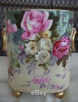 Très Rare! Antiquité Limoges Guerin Vase Roses Cachepot Peint À La Main