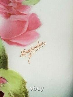 Tresseman - Vogt T&v Limoges Chine Peint À La Main Artiste Signé Grand Pichet Rose