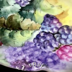 Tressemanes T & V Vogt Limoges Peinte À La Main Floral Fruit / Punch / Centerpiece Bowl