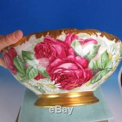 Tressemanes T & V Vogt Limoges Roses Rouge Peint À La Main Punch Bowl 14 Pouces