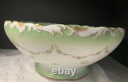 Tressemanes Vogt T&v Limoges Peint À La Main Fleurs Printanières Punch/centerpiece Bowl