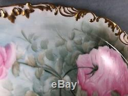 Tressemann Antique & Vogt (t & V) 16 X 14 Plateau Peint À La Main Rose Roses (14)