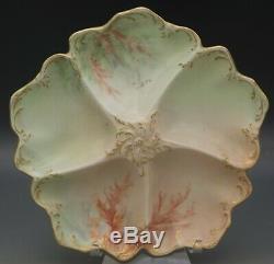 Tressemann Limoges Oyster Plaque Vogt Seaweed Peinte À La Main Antique Porcelaine