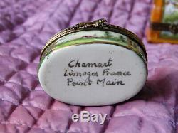 Trois (3) France Limoges Décor Principal Peint À La Main En Porcelaine Charnières Boîtes Trinket