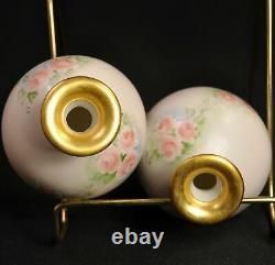 Vanity Dresser Tray 2 Flacons De Parfum Peint À La Main Artiste F. W. Pink Roses Withgold
