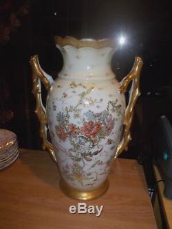 Vase Ancien À Fleurs À 2 Poignées Elite Limoges 15.5 Peint À La Main, Avec Accents Dorés